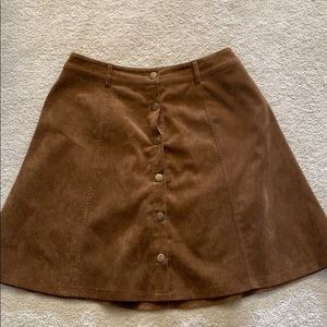 Brown corduroy buttoned skirt